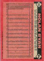 Nolan Ryan 1986 Topps Baseball Card - Back